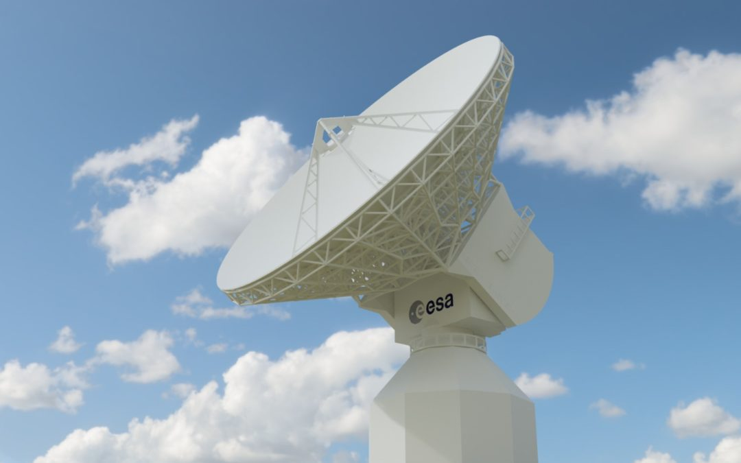 Scaled Model of ESA's ESTRACK's 35m antenna shipped to Australia.
