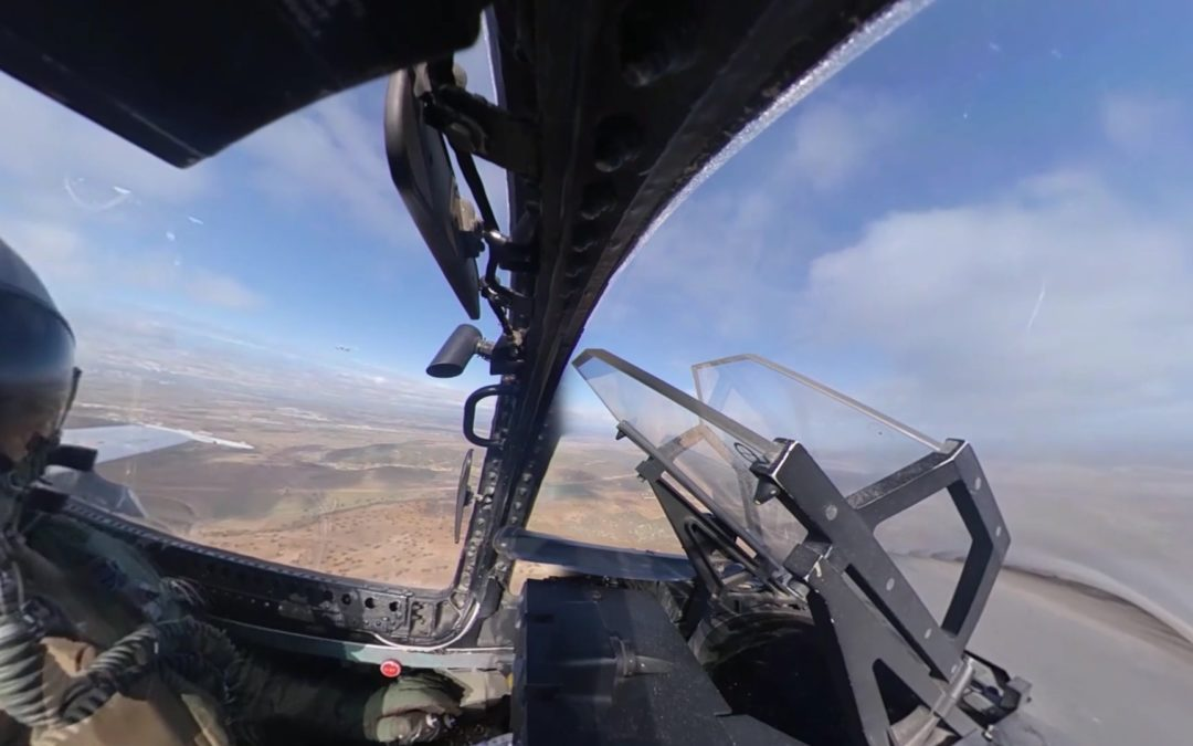 On-flight F18 fighter jet 360º footage
